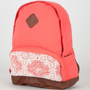 Jersey Knit Backpack in Coral with lace detail on the front pocket. Priced at $34.00, from Tilley's