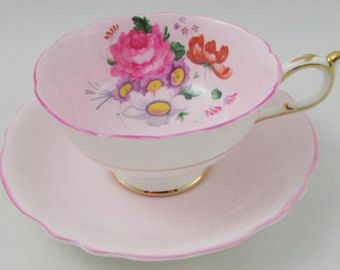 Paragon Pink Tea Cup and Saucer with Floral Bouquet, Vintage Bone China
