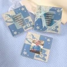 Baby shower Blue Photo Coaster Favour