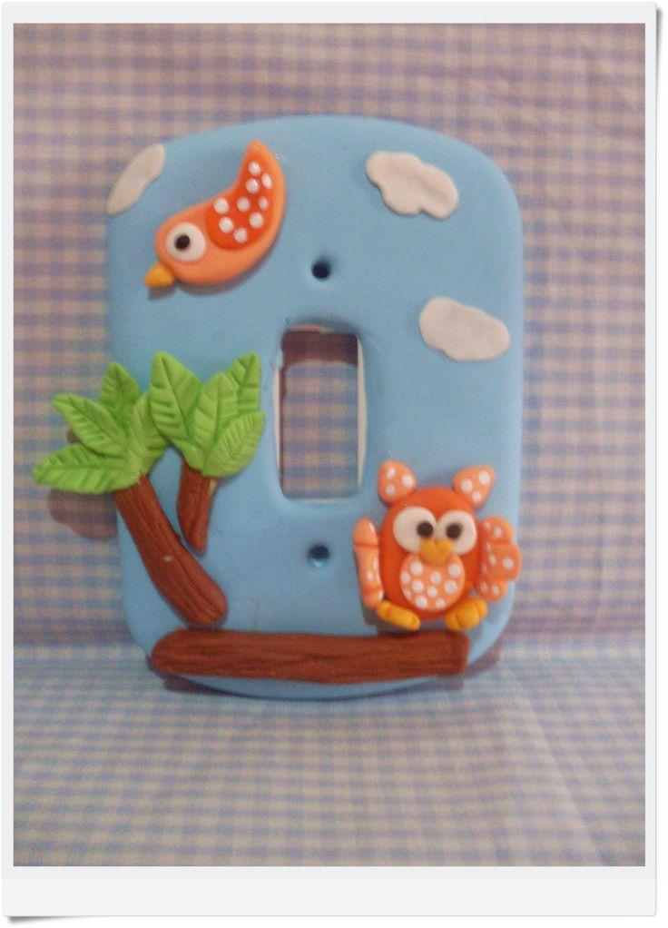 Interruptor de luz decorado em biscuit <br>***após a compra informar a marca da placa e enviar a foto para a confecção do produto***