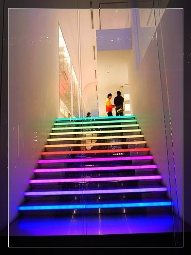 this modern staircase that has multi-coloured led strip lights - Available at Springlights in Kloof, Durban.
