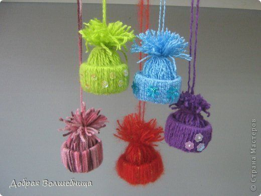 Creative Ideas - DIY Cute Yarn Winter Hat Ornaments 13