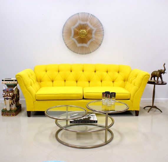 Bright Yellow 1960s70s On Tufted Sofa By Themodernhistoric 1200 00 For The Home In 2018 Pinterest Couch And Yell