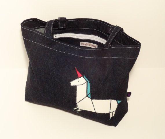 Denim shopper bag with a UNICORN FREE SHIPPING by PurpleTurtleBag