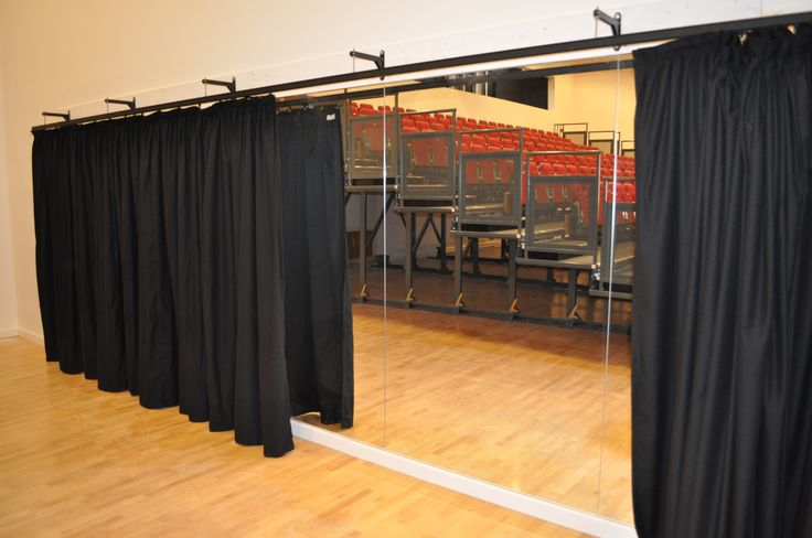 Installation of Optimax Studio Mirrors & Duratrack Curtains at Stanley Park High School.  www.theballetbarrecompany.com