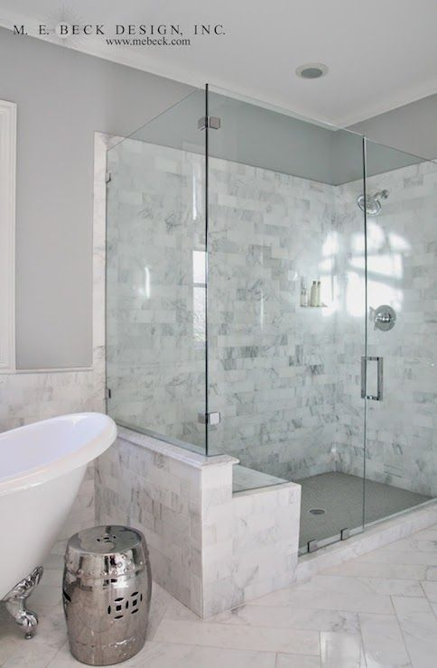 Carrera Marble Shower Tiles, Transitional, bathroom, M. E. Beck Design