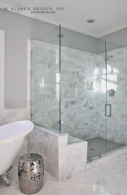 Carrera Marble Shower Tiles, Transitional, bathroom, M. E. Beck Design