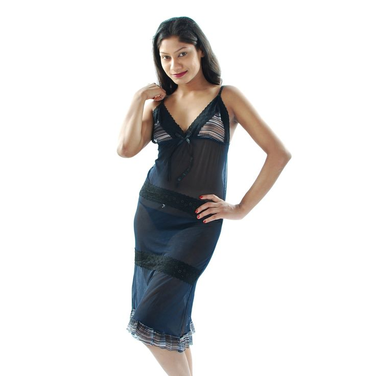 Designer Imported Net fabric used Babydoll, Adjustable Straps, Knee Length, Bed time nighty. To wear this babydoll nighty you can spend quality time with your partner. Thong panty included with this Babydoll Nightwear.