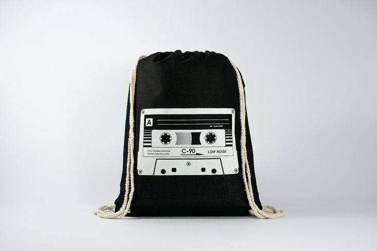 The Cassette - Find it here: http://www.officineberlinesi.com/shop/classic-gymsacks/cassette-gymsack-black/  #backpack #bag #canvasbag #canvastote #beutel #sac #rucksack #mochila #handmade #sacfourre-tout #screenprinting #taschen  #berlin #funny #beers #music #tape #eighties