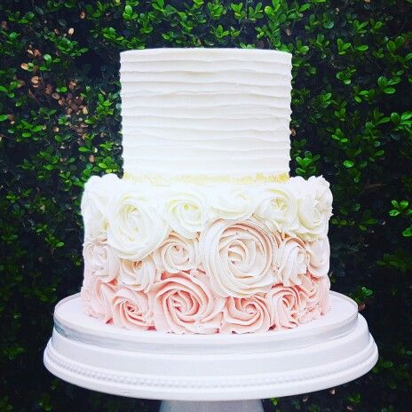 Pink Ombre Rosette and Gold Leaf Wedding Cake