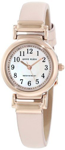 Anne Klein Women`s 10/9886RGLP Leather Rosegold-Tone Easy-To-Read Pink Leather Strap Watch $37.78