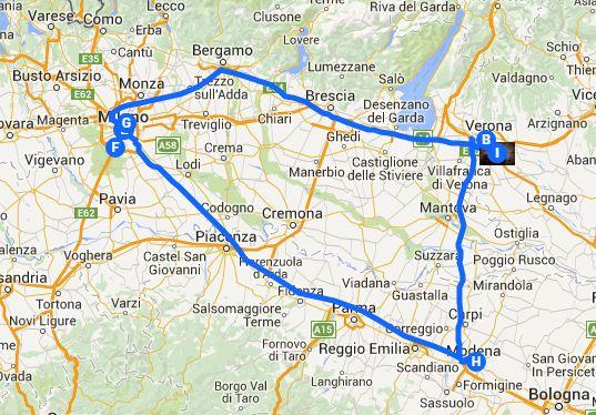 Percorso da casa mia a milano fatto con Google Maps
