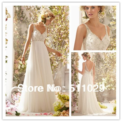 Free shipping wd 2207 crystal beaded bodice empire for Flowy white wedding dress
