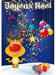 Carte du petit renne avec les cadeau et la poussière magique de noël, à imprimer
