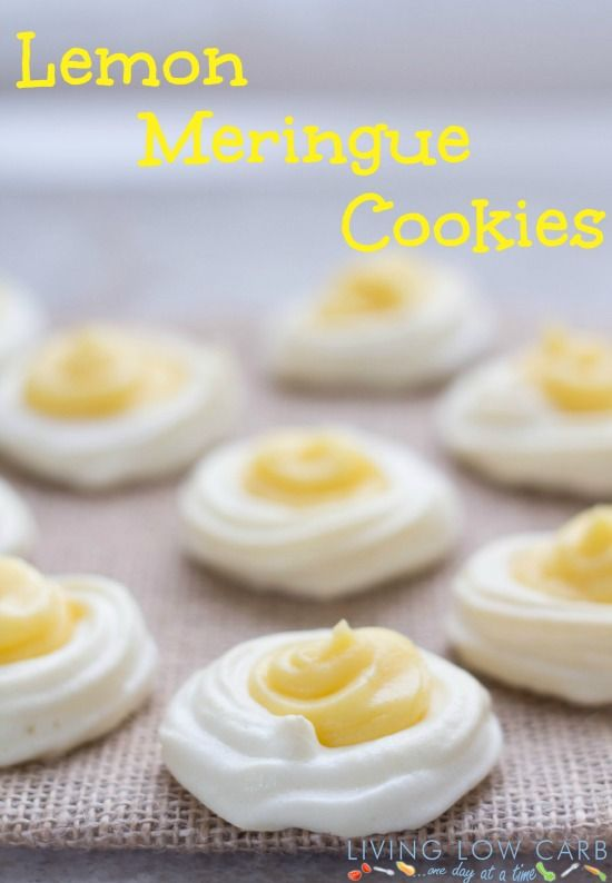 Lemon Meringue Cookies | Living Low Carb One Day At A Time - Made these for a cookie exchange party.  Delicious, but they did not turn out as white as in the picture.  Maybe try baking less?  (February 2014)