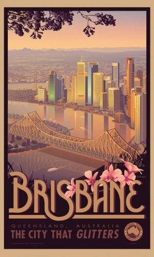 Brisbane - Australian Vintage Retro Travel Poster (only retro in the style of the poster, most of those buildings weren't even there in the 80's and 90's, but this is my city, I have to post)