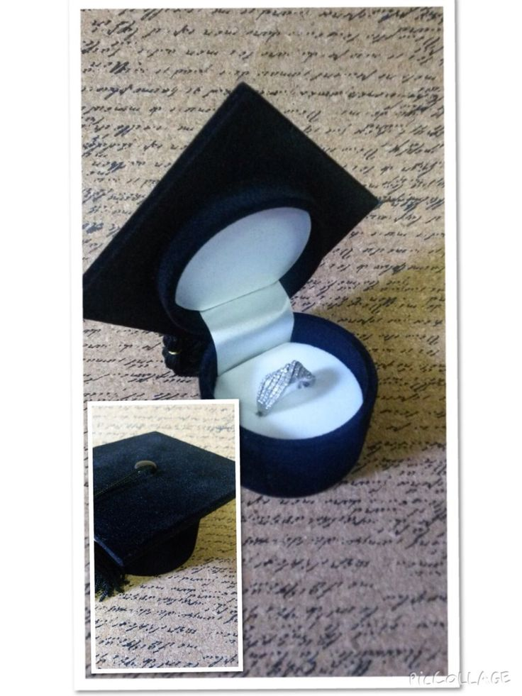 New Unique 3D Fancy black Velvet novelty college graduation Ring Gift Box stud earrings keepsake Gift box