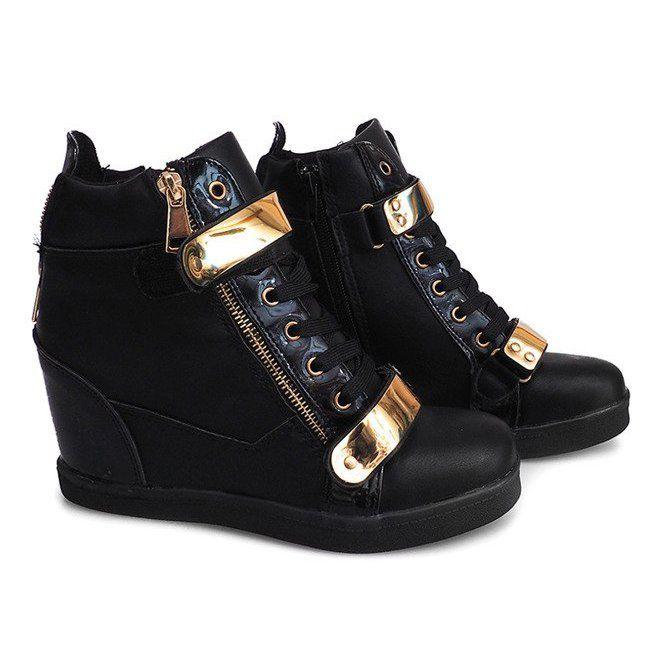 Sneakersy Na Koturnie Blachy A89 Czarny Czarne Tenisowki Sneakers Botki