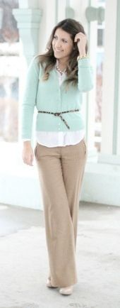 Outfit Posts: outfit post: mint cardigan, white button down shirt, tan pants