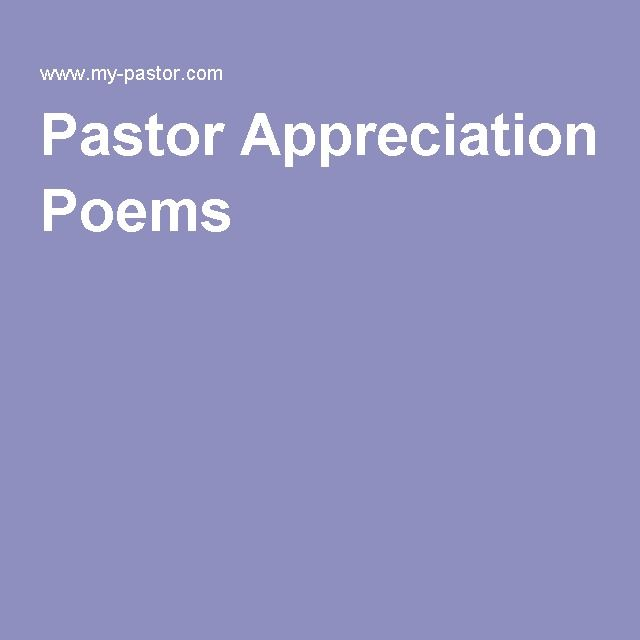Pastor Appreciation Poems