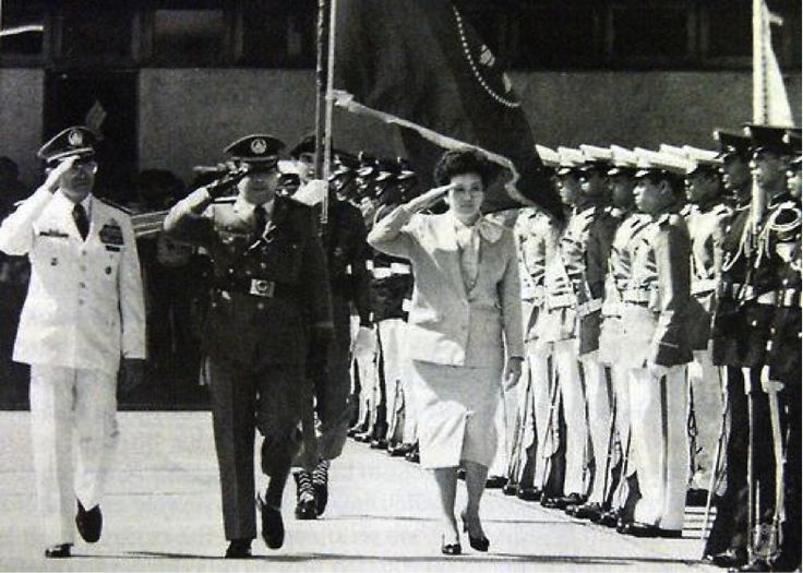 "President Aquino, with Chief of Staff General Fidel V Ramos, reviewing the troops prior to her visit in the United States. (Photo from ""Cory Aquino and the People of the Philippines"" by Claude A. Buss.)"