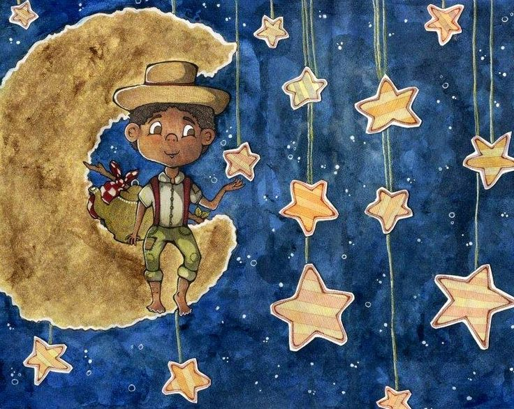 Kid and stars cartoon illustration via www.Facebook.com/GleamofDreams
