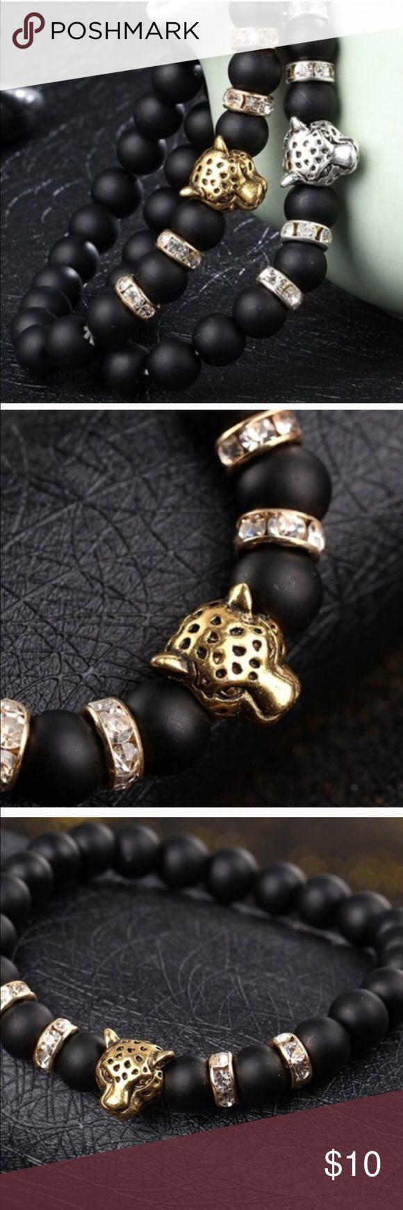 🆕Matte Unisex Stretch Bracelets With Leopard Face Great bracelets to wear with a watch or stack with other bracelets. Gold and silver available. Accessories Jewelry
