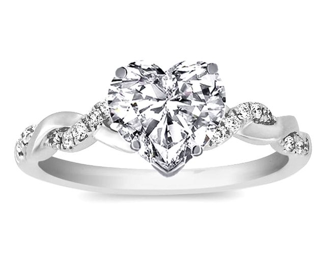 Engagement Ring - Heart Shape Diamond Petite twisted pave band Engagement Ring in 14K White Gold - ES873HSWG