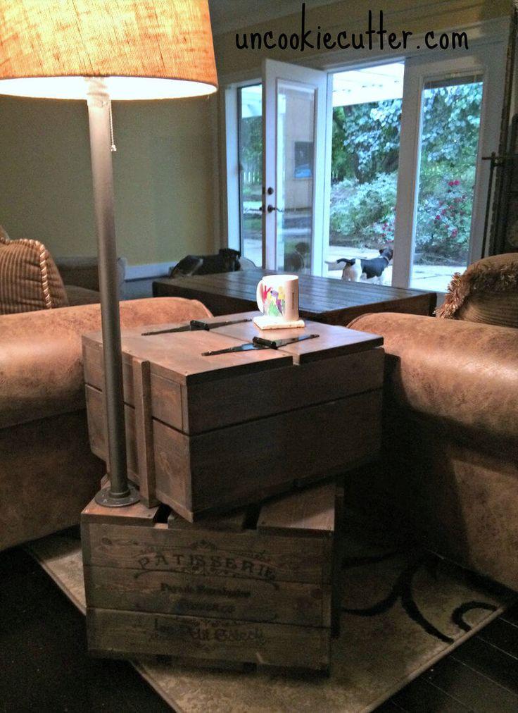 DIY Crate End Table Plans | Free & Easy Plans | http://rogueengineer.com #DIyendtable #BedroomDiyplan