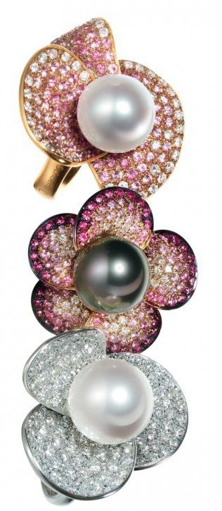Couture Collection Fleur d'Amour rings in 18-karat white and rose gold with Tahitian and South Sea cultured pearls, diamonds and/or sapphires by Schoeffel, Stuttgart, Germany. -HT