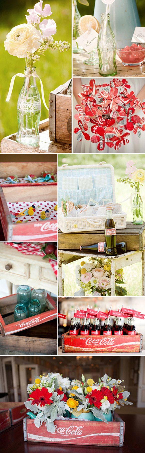 Decoración vintage para bodas con cajas y botellas de coca-cola
