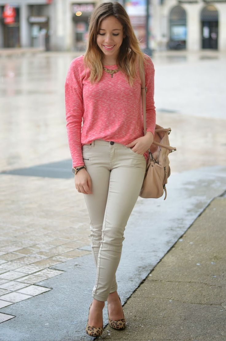Beige skinny trouser + bright pink jumper + leo print shoes #outfit #fashion #fashionblogger