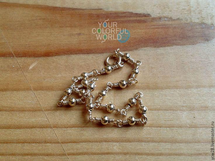 Купить Цепочка из точек // Chain of Dots - золотой, украшение, украшения ручной работы