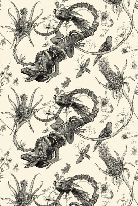 Timorous Beasties wallcoverings, Iguana Superwide, black on ivory