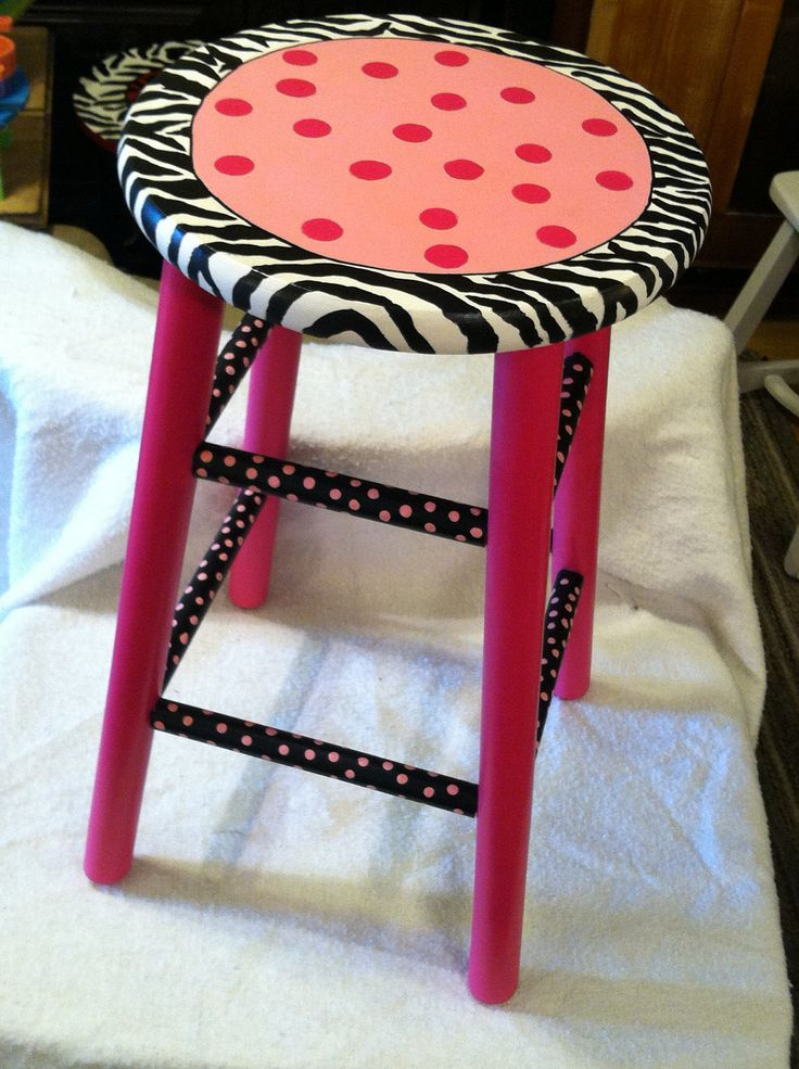 Funky Hand Painted Wood Bar Stool Whimsical By