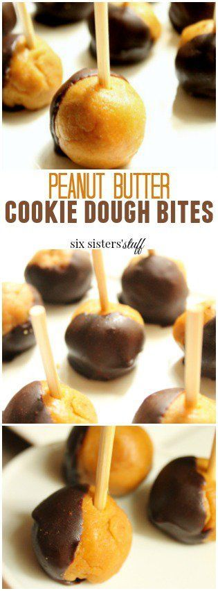 Peanut Butter Cookie Dough Bites recipe from Six Sisters' Stuff