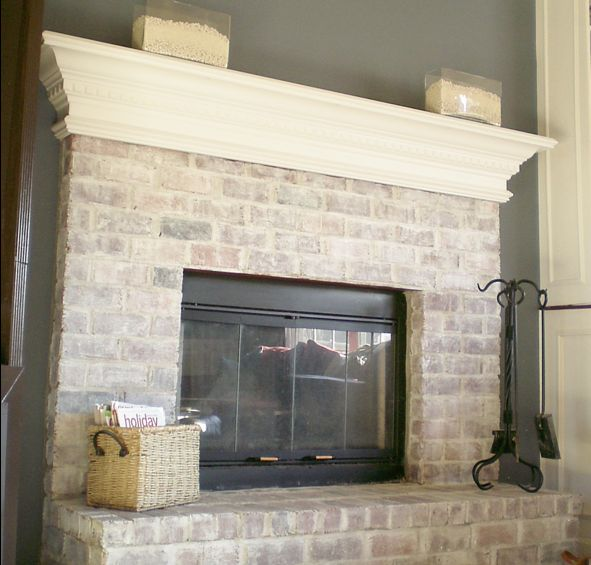 Instead of stacked stone? Would look nice with built ins... | For the Home  | Pinterest | Whitewash brick fireplaces, Whitewashed