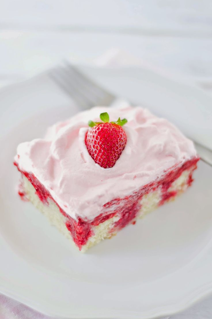 Real Strawberry Poke Cake - Apples and Sparkle
