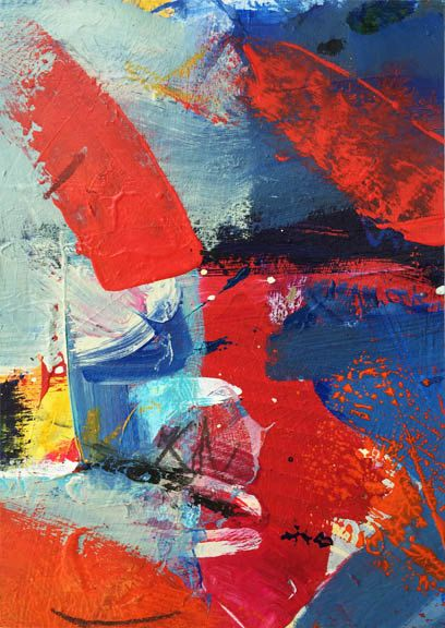 Vibrant reds, oranges and cool blues are incorporated into this original contemporary piece. This painting is mixed media on canvas paper, It