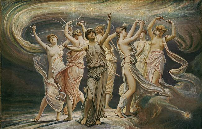 Book VII O goddesses, now open the Helicon/and guide my song: what kings were spurred to war;/ what me graced lovely Italy even then. [Vergil asks for help in describing the latin forces. Painting is of the Pleiades, oh well.]