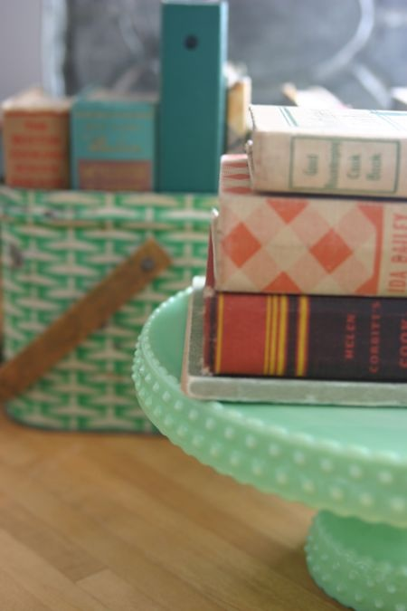 vintage cook books AND vintage mint green cake stand!
