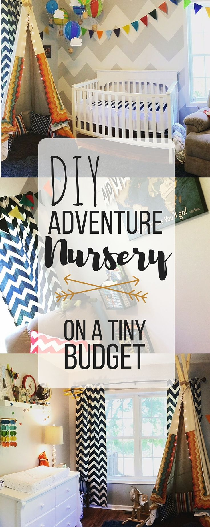 Living on a budget? Need to decorate a nursery? There's no reason you can't have a pinterest-worthy nursing when you are living on a dime. Save money with these DIY solutions and create an awesome adventure nursery that your baby will love. Mom win!! Click to learn more!