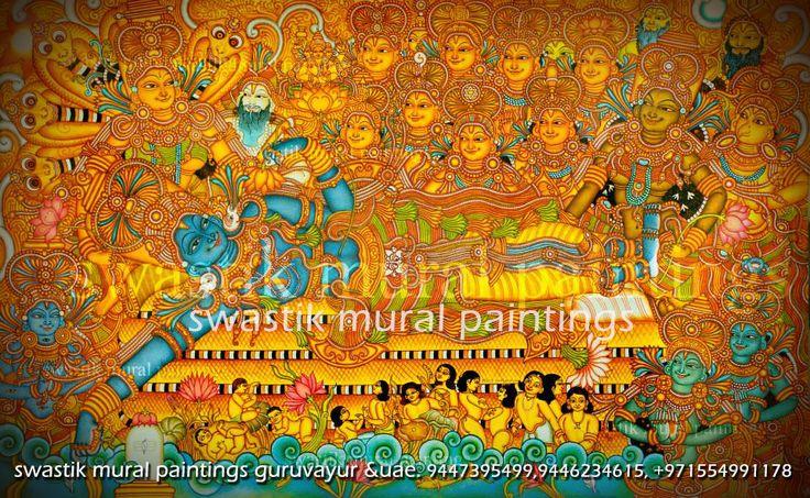 Anandasayanam,  Artists: Dileep swastik & Hariharan swastik #keralamuralpaintings  #muralart #paintings #anandasayanam #padmanabhaswamitemple #guruvayur #canvaspaintings #muralclasses #swastikmuralpaintings