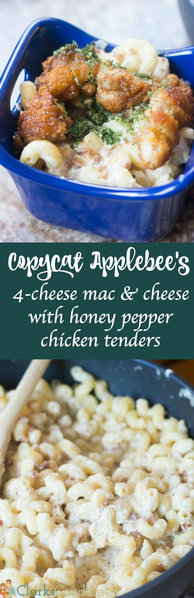 This copycat Applebee's 4 cheese mac & cheese with honey pepper chicken tenders is simple and delicious - it's great for children and adults. Even those who don't like mac and cheese love it!