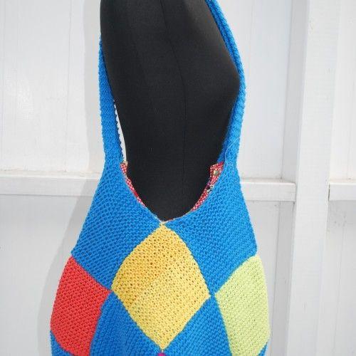 Pattern number 54. Knitted scrap yarn bag.