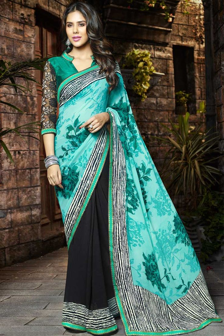 #AndaazFashion Présente vert clair Georgette Saree avec l'art de la soie Russal net Blouse   http://www.andaazfashion.fr/womens/sarees/light-green-georgettesaree-art-silk-russal-net-dmv8560.html