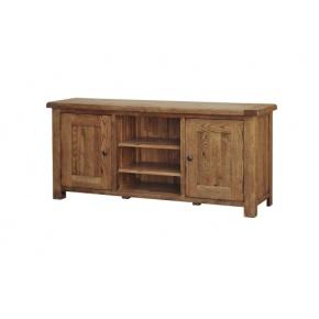 Rustic Solid Oak SRDE35 Large TV Unit with Wooden Doors    www.easyFurn.co.uk