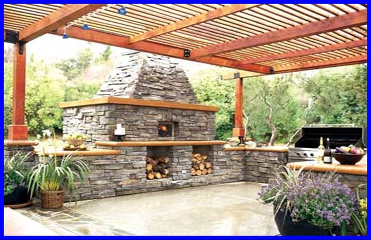 Outdoor fireplace pergola kitchen outdoor entertaining for Outdoor kitchen pergola ideas