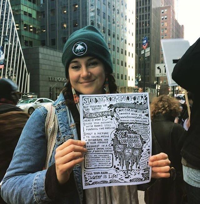 #ShaileneWoodley at the #DefundDAPL protest in NYC today