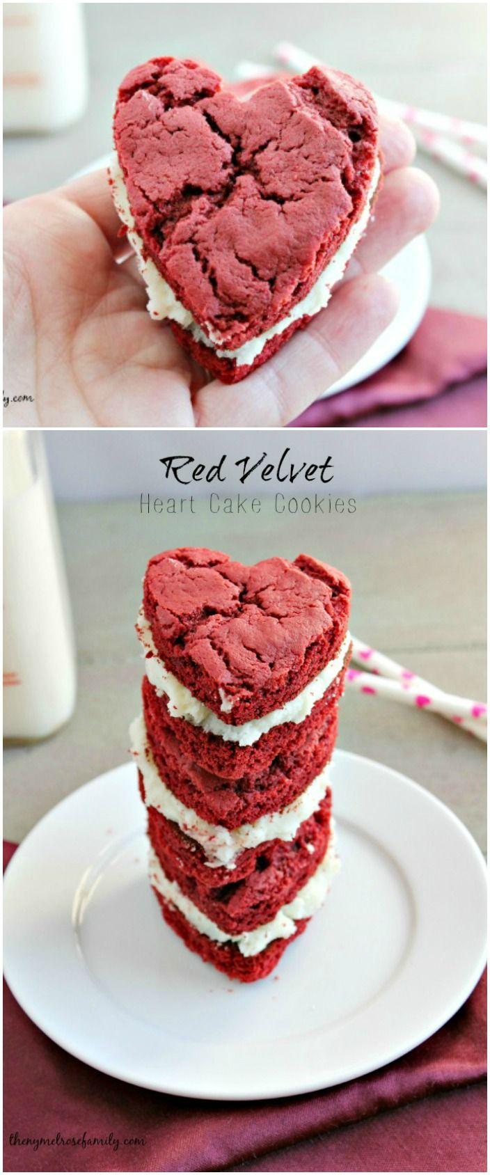 Red Velvet Heart Cake Cookies